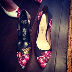 Left: Vintage Palter DeLiso floral pump. Right: New Palter DeLiso floral pump!